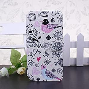 Fashionable Cartoon Bird and Flowers Pattern Full Body Leather Case with Stand for iPhone 6 Cases, iphone 6 Covers