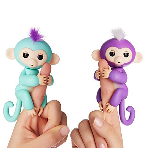 Fingerlings Interactive Baby Monkeys 2 Pack  Mia  Purple With White Hair   Zoe  Turquoise With Purple Hair