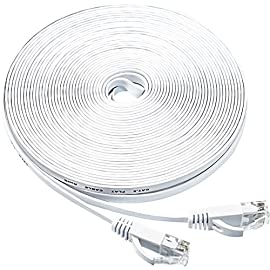 Ethernet Cable 50 Ft,Cat6 Internet Cable Flat Network LAN Patch Cord White with Clips Snagless Rj45 Connectors,High Speed Computer Wire Faster Than Cat5e Cat5 for Ps4,Xbox,Router,Modem,Network Switch 123 Flat Design&Free Clips: Can't even feel or see the cable run under a rug or carpet. Easier to line up against the wall. Flexible, Thin, Unnoticeable but Hardy. Save space if you don't need the entire length. Also bundled with 20 Cable Clips for free Compatibility: Cat6 ethernet cable is compatible with Cat5/Cat5e, but lower price, higher bandwidth. Provides universal connectivity for Xbox One, Xbox 360, Switches, Routers Modems, PS3, PS4, Computer, Laptop, Printers, Network Printers, Network Attached Storage Device, ADSL, NAS, VoIP phones and more High Speed: High Transmission Performance and Low Signal Losses. High bandwidth up to 250 MHz, transmit data at speeds up to 1 Gbps(1 Gigabit per second). Suitable for 10Base-T,100Base-TX(Fast Ethernet),1000Base-T/1000Base-TX(Gigabit Ethernet)and 10GBase-T(10-Gigabit Ethernet)