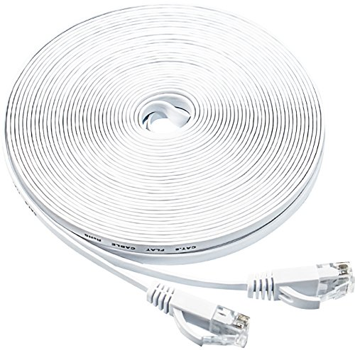 ethernet cable 50 ft cat6 internet cable flat network lan patch cord white with clips snagless