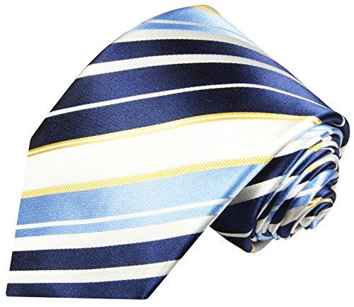 Paul Malone cravate homme bleu blanc rayé 100% soie