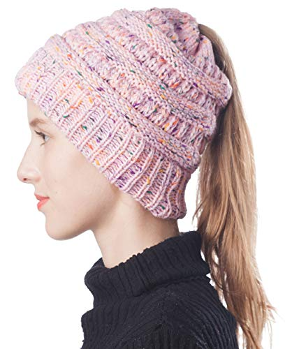 Soft Stretch Cable Knitted High Bun Ponytail Beanie Hat Messy Winter Girl Warm Beanie Cap (Confetti Pink)