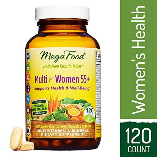 MegaFood - Multi for Women 55+, Multivitamin Support for Cardiovascular and Bone Health, Cognition, and Mood Balance with Methylated Folate and B12, Vegetarian, Gluten-Free, Non-GMO, 120 Tablets