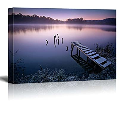Beautiful Scenery Landscape Misty Peaceful Quiet Lake in Early Morning Calmness Concept Nature Beauty - Canvas Art Wall Art - 24