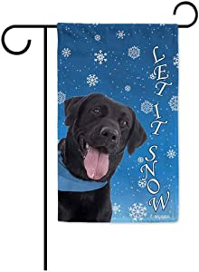 BAGEYOU Let It Snow with My Love Dog Labrador Decorative Garden Flag for Outside Happy Winter Holiday Puppy Snowflake Yard Banner 12.5X18 Inch Printed Double Sided