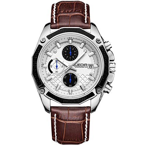 JEDIR Men's Chronograph Quartz Wrist Watch Analog Dial with Date Calendar Soft Leather Band (White)