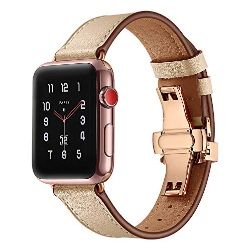 BONSTRAP Compatible Leather Watch Straps for Apple Watch 44mm 42mm for Unisex - Louis Vuitton Brown Dial