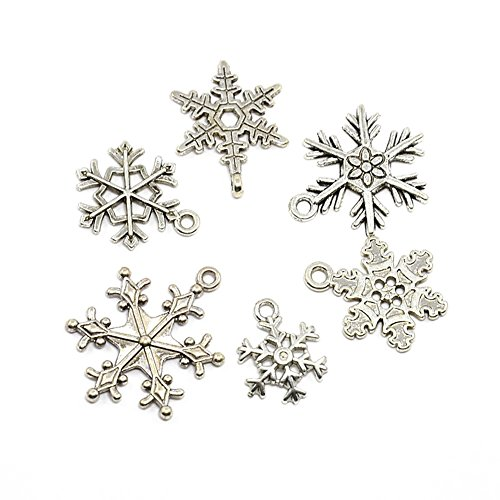 Beadthoven 5sets(30pcs) Mixed Vintage Tibetan Style Alloy Snowflake Pendants, Christmas