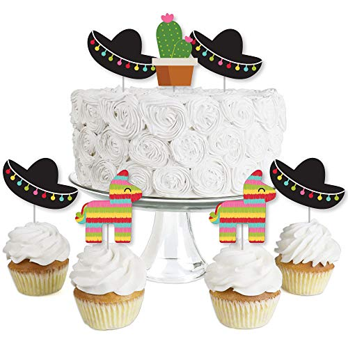 Let's Fiesta - Dessert Cupcake Toppers - Mexican Fiesta Party Clear Treat Picks - Set of 24 ()