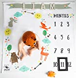 Baby Bee Monthly Milestone Swaddling Blanket Double Thick Large Soft 100% Premium Quality Circle Unisex Gender Neutral Fleece Nature Animal Arrows Bear Deer Fox Photo Backdrop With Frame Marker