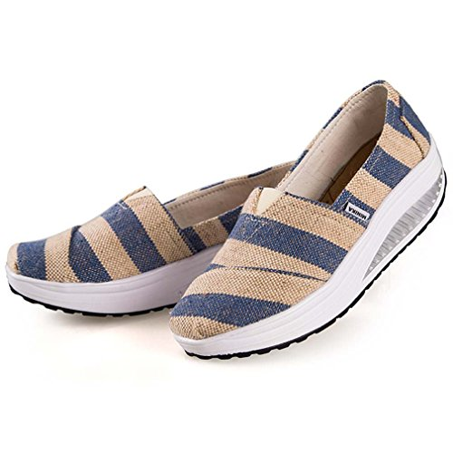 Solshine Damen Keilabsatz Plateau mit Mustern Loafers Sneaker Bequeme Laufschuhe CCC