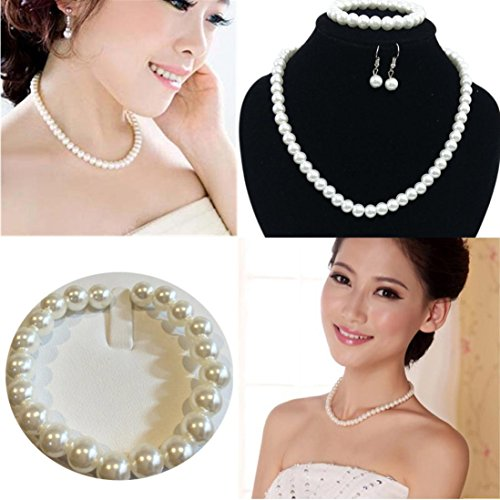 White Circle Pearl Station Necklace (Hot Sale Gifts!Women Wedding Bridal Jewelry Set Daoroka Prom Party Faux Pearls Chain Necklace Earrings Bracelet Jewelry (, White))