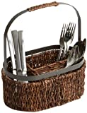 Woodard & Charles Abaca with Metal Trim Oval Flatware Caddy, 11-Inch