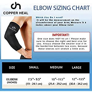 COPPER HEAL Elbow Compression Sleeve - BEST Medical Recovery Elbow Brace GUARANTEED with Highest Copper Infused Content - Support Stiff Sore Muscles and Joints Tendonitis Arm Tennis Basket Wrap