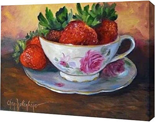 """PrintArt GW-POD-48-CW1164-24x18 """"Cup and Saucer with Strawberries"""" by Cheri Wollenberg Gallery Wrapped Giclee Canvas Art Print, 24"""" x 18"""""""