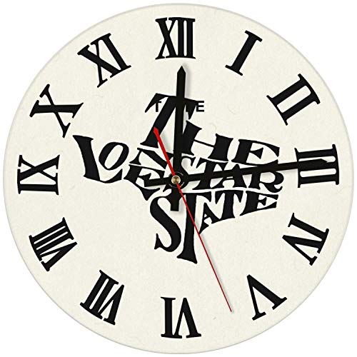 saedes Texas Independence Day The Lone Star State Wall Clock Decorative Wall Clock Round Easy to Read Home/Office/School Clock,Wall Clocks Silent Battery Operated ()