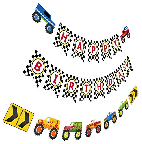 Monster Truck Birthday Banner, Cars Trucks Birthday Sign with Garland, Vehicle Boy Birthday Bunting]()