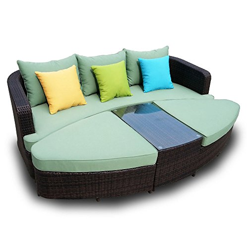 Naples Deep Seating 4 piece Modular Sofa Set in Black Wicker with Amry Green Cushions