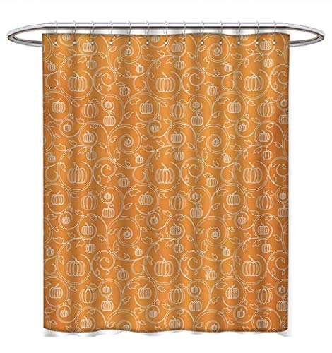 Anhuthree Harvest Shower Curtains 3D Digital Printing Pattern with Pumpkin Leaves and Swirls on Orange Backdrop Halloween Inspired Fabric Bathroom Decor Set with Hooks W72 x L72 Orange White