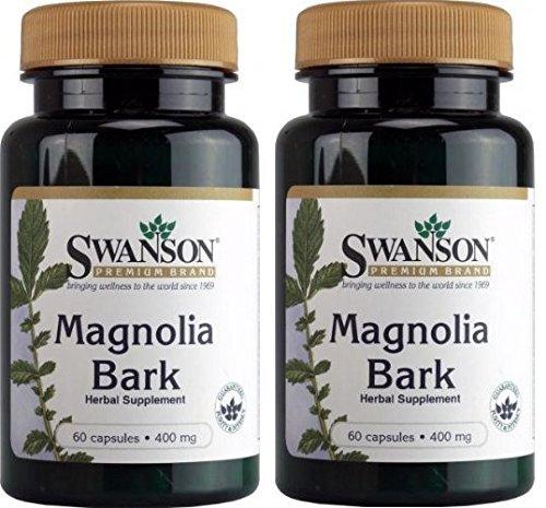 Swanson Magnolia Bark 400mg -- 60 Capsules (2 Bottles each of) (Officinalis Magnolia Bark)