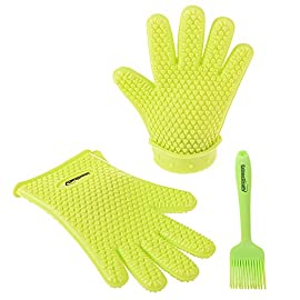 Extraordinary Silicone Gloves Heat Resistant - Oven Silicone Mitts & Pastry Brush || Silicone Cooking Set 22 HEAT-RESISTANT- this oven gloves are made of 100% food grade and BPA free silicone. Our silicone cooking gloves are designed specifically to protect your hands and wrists against intense heat from baking, cooking, BBQing, reaching hot water. Grab your hot items with no risk of getting burned or accumulate all the oil and grill grime, as regular kitchen mitts. Place and remove food in boiling water free from any risk; 100% WATERPROOF, ANTI-SLIP GRIP FIVE FINGER DESIGN which ensure safety when washing the dishes, moving slipping plates or handling hot items; MULTIPURPOSE VERSATILITY - this safety gloves can be used in household for cooking, baking, grilling, pot-holding, dish washing, house cleaning or even gardening! No staining or smell, even after long use;