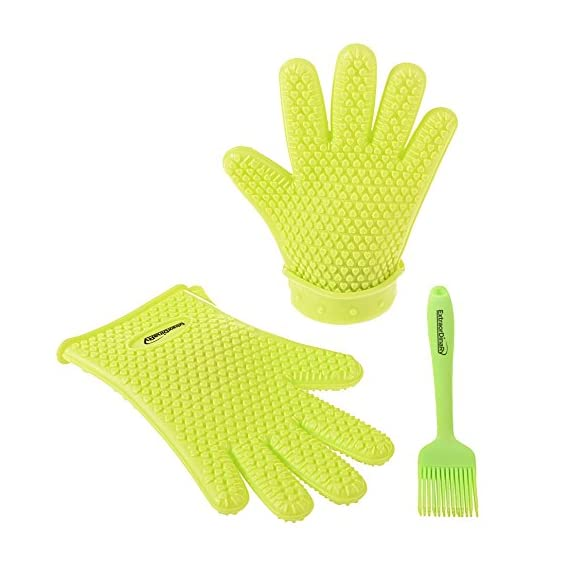 Extraordinary Silicone Gloves Heat Resistant - Oven Silicone Mitts & Pastry Brush || Silicone Cooking Set 1 HEAT-RESISTANT- this oven gloves are made of 100% food grade and BPA free silicone. Our silicone cooking gloves are designed specifically to protect your hands and wrists against intense heat from baking, cooking, BBQing, reaching hot water. Grab your hot items with no risk of getting burned or accumulate all the oil and grill grime, as regular kitchen mitts. Place and remove food in boiling water free from any risk; 100% WATERPROOF, ANTI-SLIP GRIP FIVE FINGER DESIGN which ensure safety when washing the dishes, moving slipping plates or handling hot items; MULTIPURPOSE VERSATILITY - this safety gloves can be used in household for cooking, baking, grilling, pot-holding, dish washing, house cleaning or even gardening! No staining or smell, even after long use;