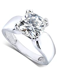 3ct Cushion-Cut Moissanite Solitaire Engagement Ring in 14k White Gold - Size 5