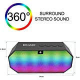 UIUIUS Speakers,Ecandy Portable Wireless Stereo Speaker with LED Lights for iPhone 6s,6s Plus,5s,Samsung Galaxy S6 Edge,HTC M9,Tablets and More (Black)