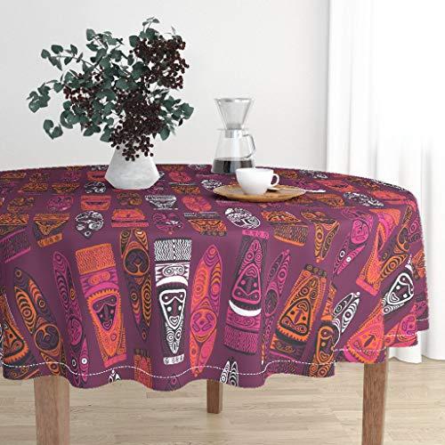Roostery Round Tablecloth - Purple Hawaiian New Guinea Masks 2B Tiki Tiki Tapa Aloha Hawaii Primitive Jungle by Muhlenkott - Cotton Sateen Tablecloth 90in