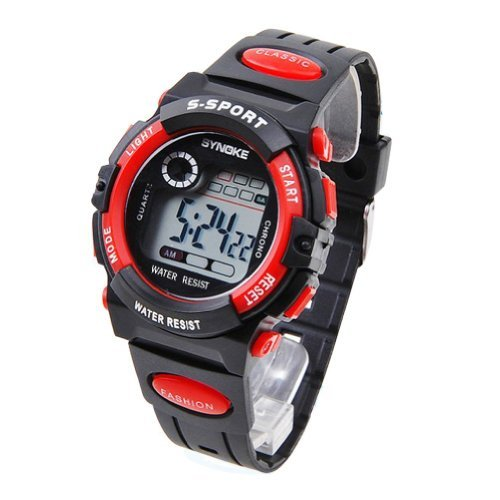 SYNOKE Unisex Kids Student Watches Fashion Sports Watches with Alarm Chronograph Long lasting battery Calendar Noctilucen Wristband Digital Watches (Red) (Calendar Digital Wrist Watch)