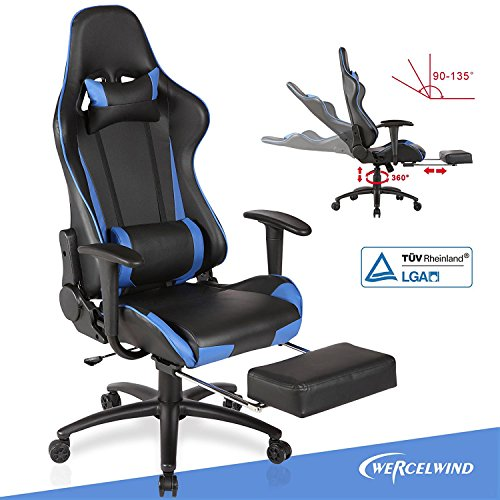Mecor Gaming Chair, Ergonomic Swivel Racing Chair High-back Adjustable Height Leather Computer Office Chair Executive Headrest Lumbar Support Chair with Footrest Blue & (Adjustable Leather Swivel Chair)