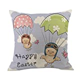 Geetobby Easter Throw Pillow Case Bunny Rabbit Eggs Linen for Men Women Sofa Bedroom Livingroom
