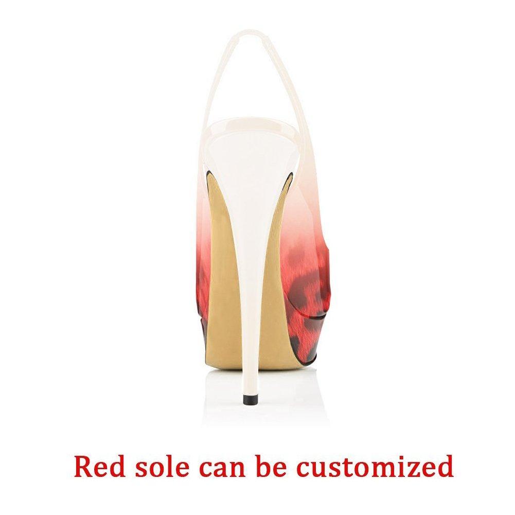 Women Platform Peep Toe Platform Women Sandals Slingback High Heels Party Stilettos Dress Shoes B0774M36D9 9.5|Red Leoaprd to White dc69a7