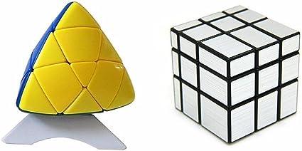 Adichai Combo of Silver Mirror Cube and Pyramid