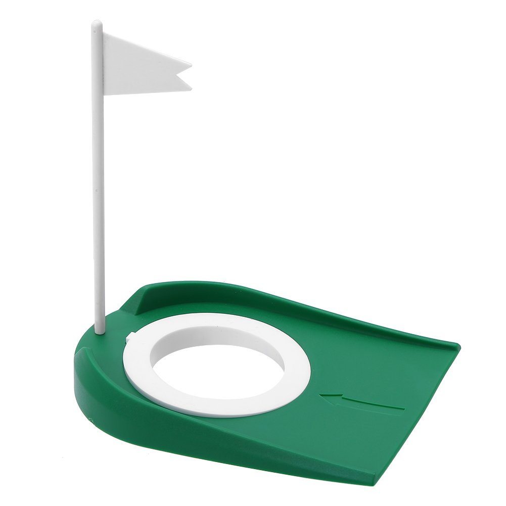 Yuniroom Indoor Outdoor Plastic Golf Putting Cup Practice Aids with Adjustable Hole White Flag