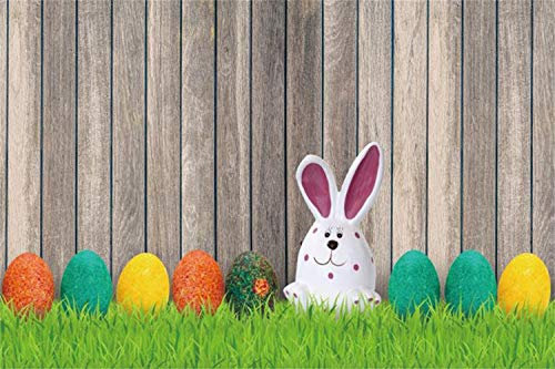 Laeacco 10x7ft Easter Day Photo Background Vinyl Cute Funny Rabbit Colorful Easter Eggs Green Grassland Rustic Vertical Stripes Wooden Wall Background Child Baby Adult Portraits Shoot Greeting Card