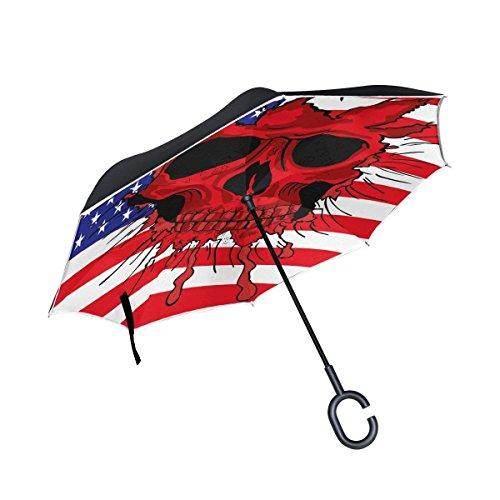 Ladninag American Flag Sugar Skull United States Inverted Umbrella  Large Double Layer Outdoor Rain Sun Car Reversible Umbrella