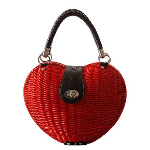 Kimiyar Heart Rattan Handmade Bag Fashion Straw Bag Weaving Handbag Girls White Red Beach Bag