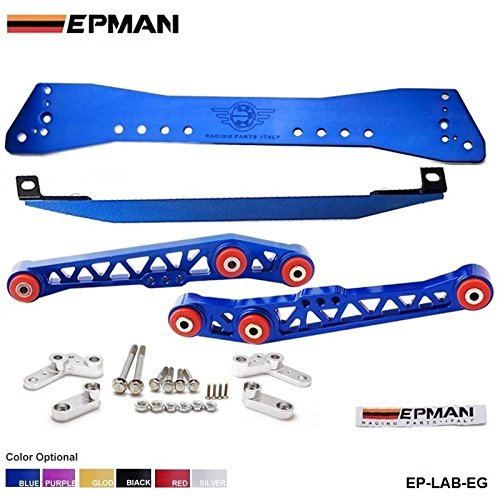 Polished Lower Tie Bars - EPMAN Racing Polished Lower Subframe Tie Bar + Lower Control Arms Combo For CIVIC EF EG (Blue)