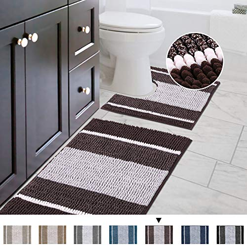 Striped Shag Chenille Bathroom Rug Toilet Sets and Shaggy Water-Absorbent Non Slip Machine Washable...