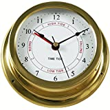 """Ambient Weather TIDECLOCK-22 5.5"""" Brass Nautical Quartz Tide and Time Clock"""
