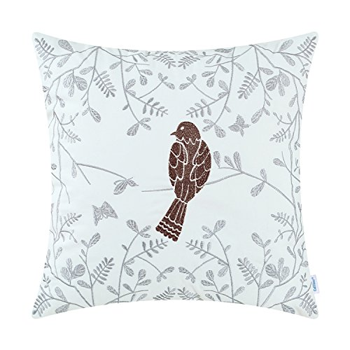 CaliTime Cotton Throw Pillow Case Cover Bed Couch Sofa Cute Bird in Gray Garden Embroidered 18 X 18 Inches Coffee