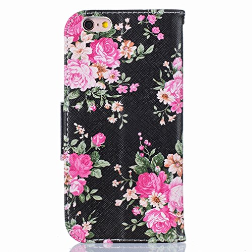 Yiizy Apple IPhone 6s Plus / IPhone 6 Plus Funda, Bright Rose Diseño Solapa Flip Billetera Carcasa Tapa Estuches Premium PU Cuero Cover Cáscara Bumper Protector Slim Piel Shell Case Stand Ranura para