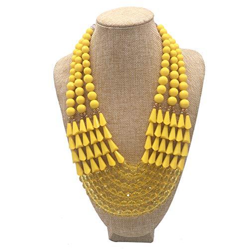Yellow Beaded Jewelry Set (Halawly Women's Fashion Jewelry Set Beaded Multi Strand Bib Necklace (Yellow))