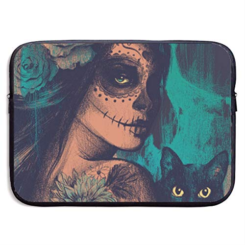 LiaanQianga Flower Sugar Skull Women and Cat 13-15 Inch Laptop Sleeve Bag - Tablet Clutch Carrying Case,Water Resistant, Black