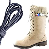 navy seal boot knife - DailyShoes Women's Combat Style Lace up Ankle Bootie Round Toe Military Knit Credit Card Knife Money Wallet Pocket Boots, Navy, Beige PU, 10 B(M) US