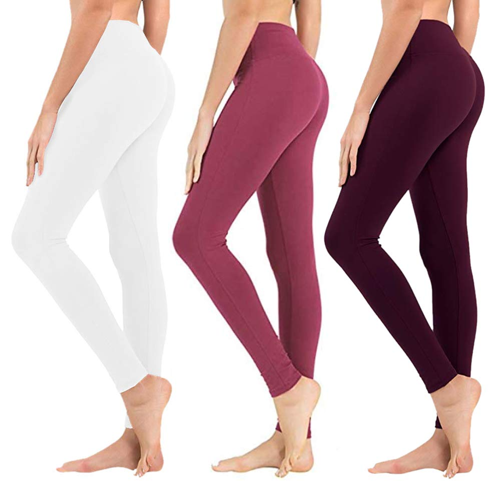 High Waisted Leggings for Women - Soft Athletic Tummy Control Pants for Running Cycling Yoga Workout - Reg & Plus Size (3 Pack White, Rose Pink, Vintage Violet, Plus Size (US 12-24)) by SYRINX