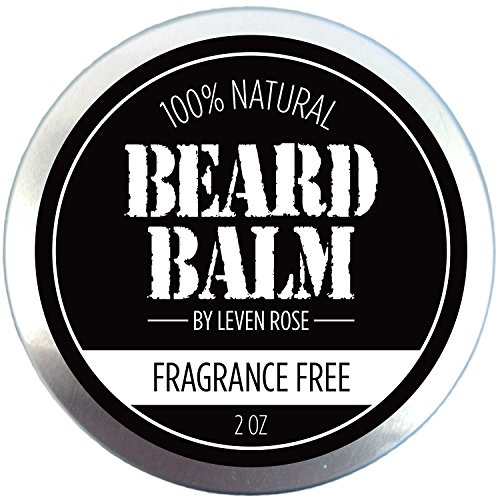 Beard Balm – Fragrance Free by Leven Rose 100% Pure Natural Organic Leave In Conditioner with Natural Oils for Groomed Beards and Mustaches – 2 oz