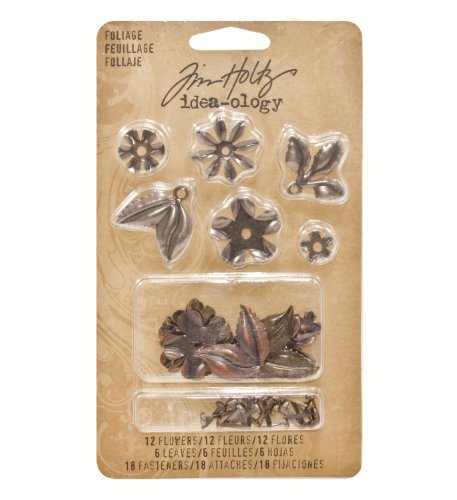 (Metal Foliage with Fasteners by Tim Holtz Idea-ology, 18 per Pack, Various Sizes, Antique Finishes, TH92788)