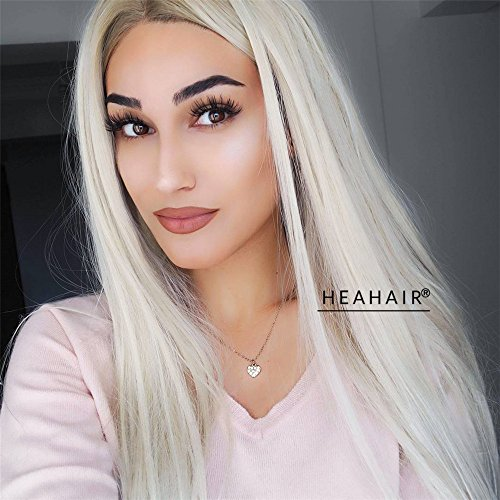 Heahair Fashion Natural Looking Heat Resistant Blonde Straight Handtied Synthetic Lace Front Wig